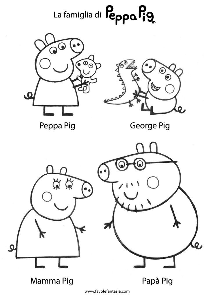 Peppa Pig and friends in free preschool coloring page printable - new free coloring pages for peppa pig