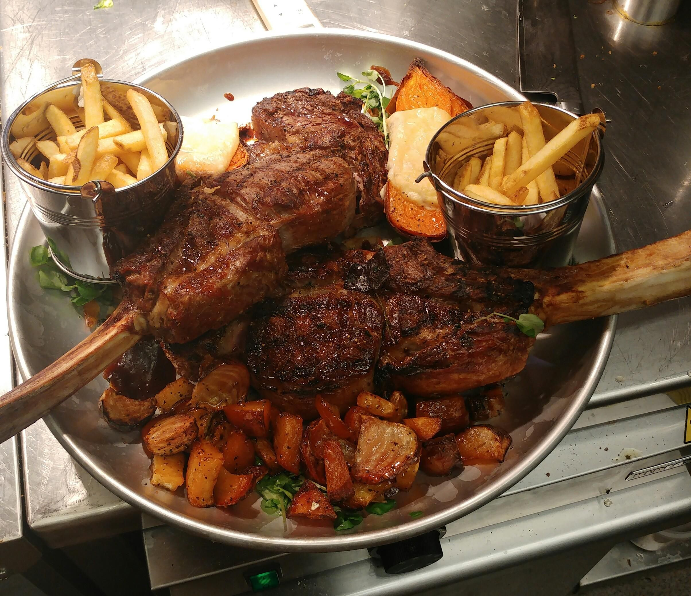 Pro Chef 2x 900 Gram Tomahawk Steaks With Sides Recipes Food Cooking Delicious Foodie Foodrecipes Cook Recipe Health Recipes Food Good Food