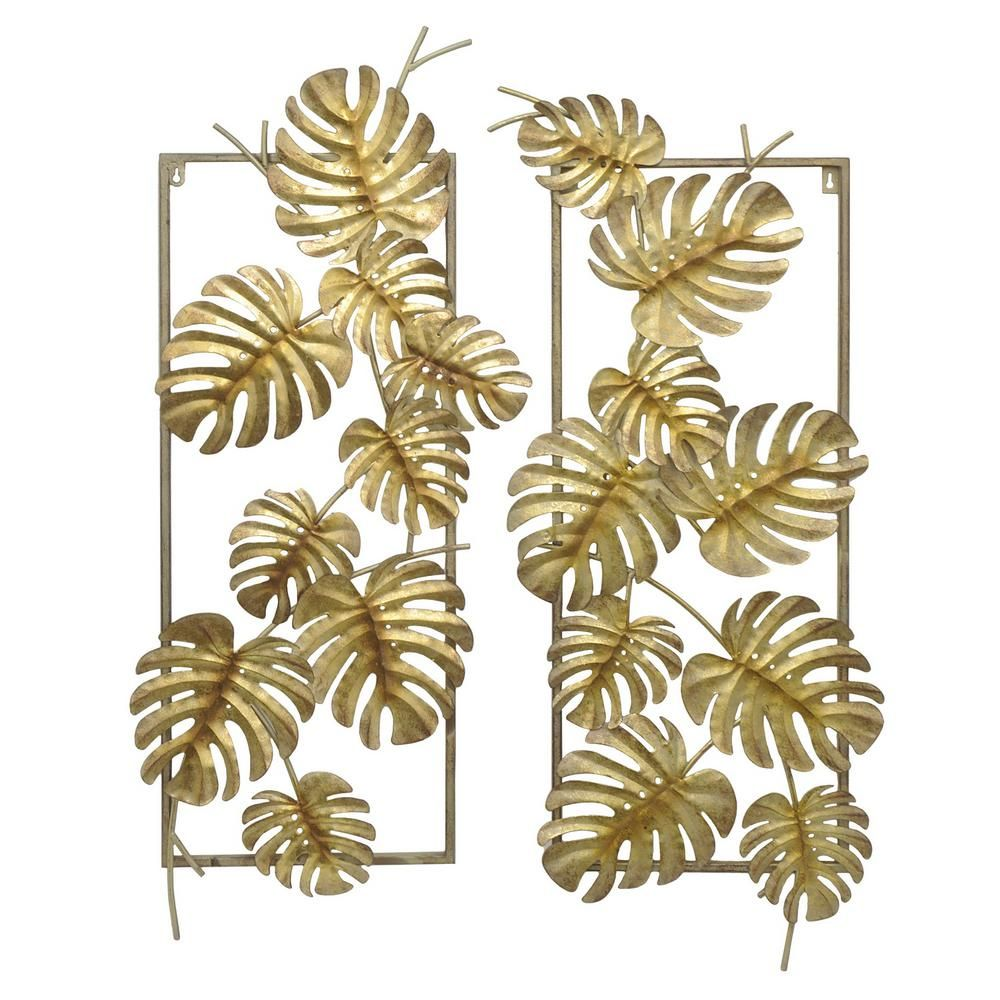 Gold metal tropical leaves wall decor set of gold metallic