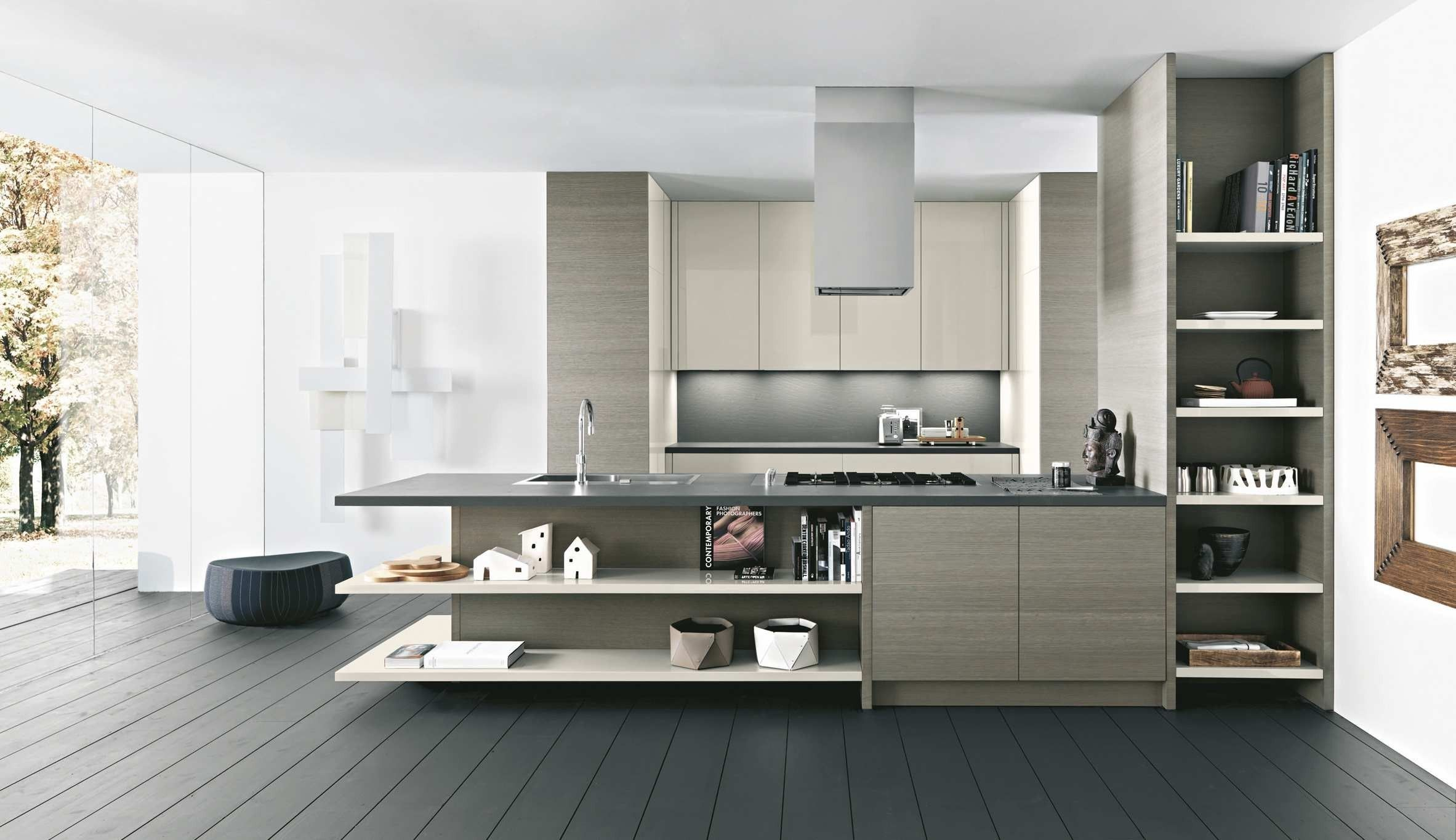wonderful white grey wood stainless cool design modern italian
