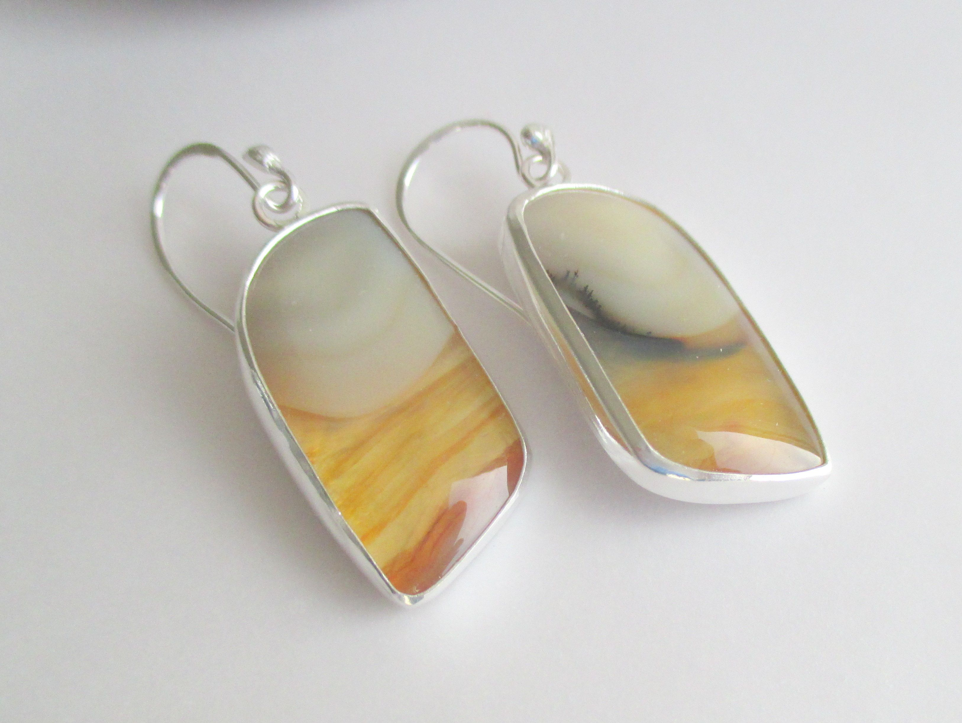 Sterling silver earrings with amber and agate
