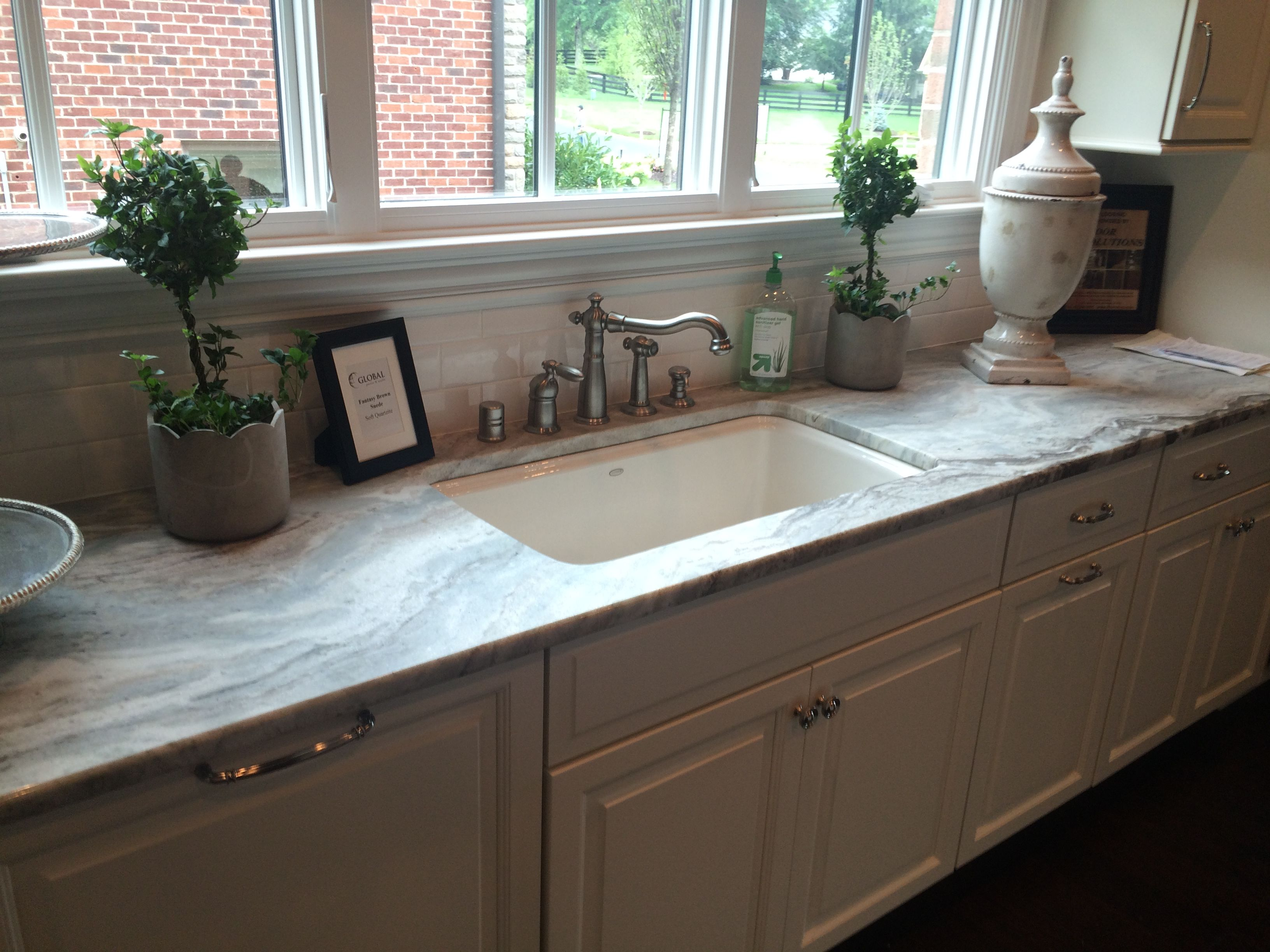 Fantasy Brown Suede Marble With White Cabinets Visit Globalgranite Com For Your Natural Stone Kitchen Countertops Granite Countertops Kitchen Kitchen Remodel