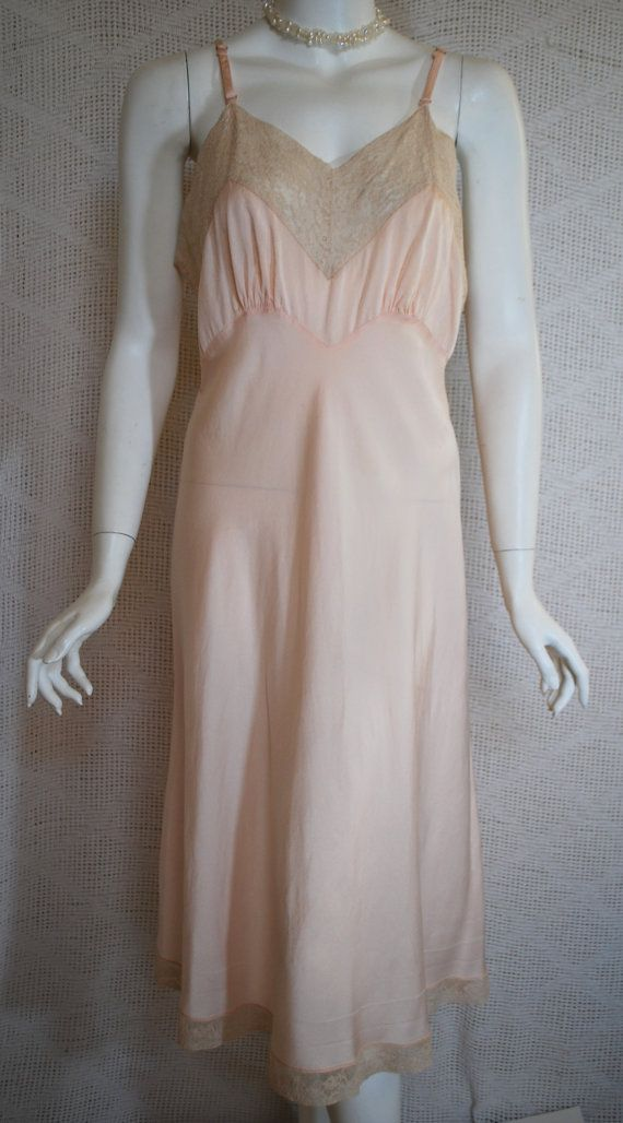 1940s Fischer Silk Slip Soft Peach Silk And Ecru Lace Full Slip 34 Small Medium Silk Slip Vintage Outfits Fashion