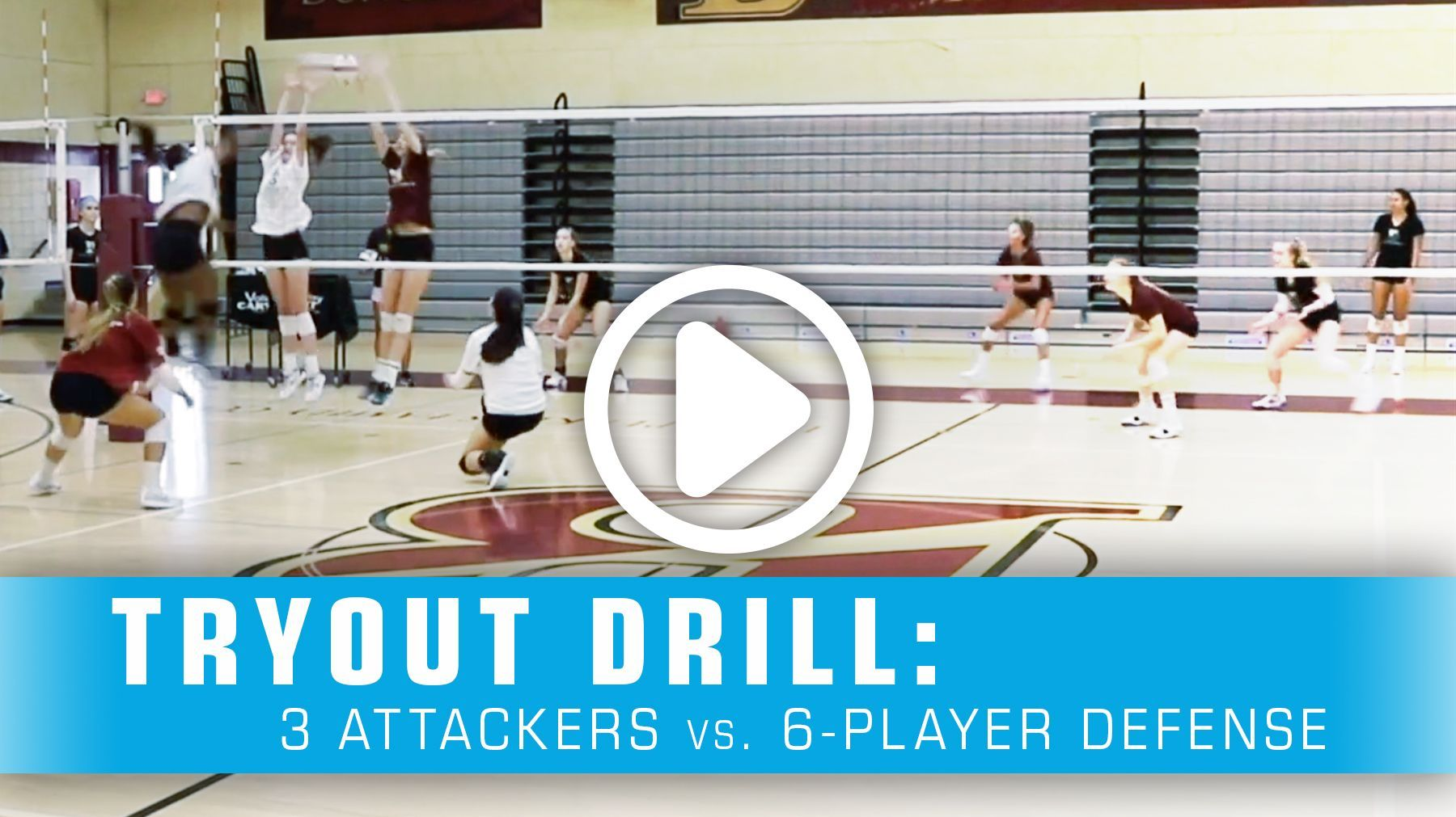 Tryout Drill 3 Attackers Vs 6 Player Defense Coaching Volleyball Volleyball Tryouts Volleyball