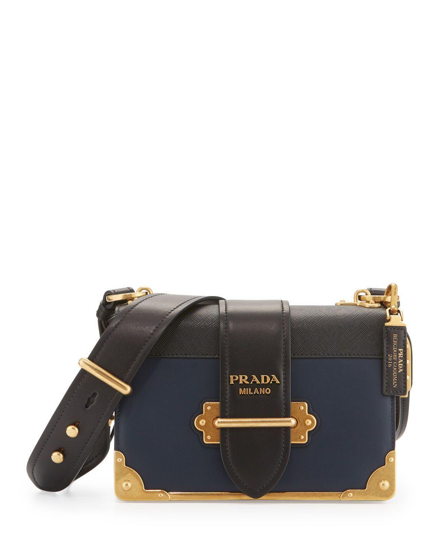 7e85f001beb5 Prada Leather Trunk Shoulder Bag, Baltico | Bags