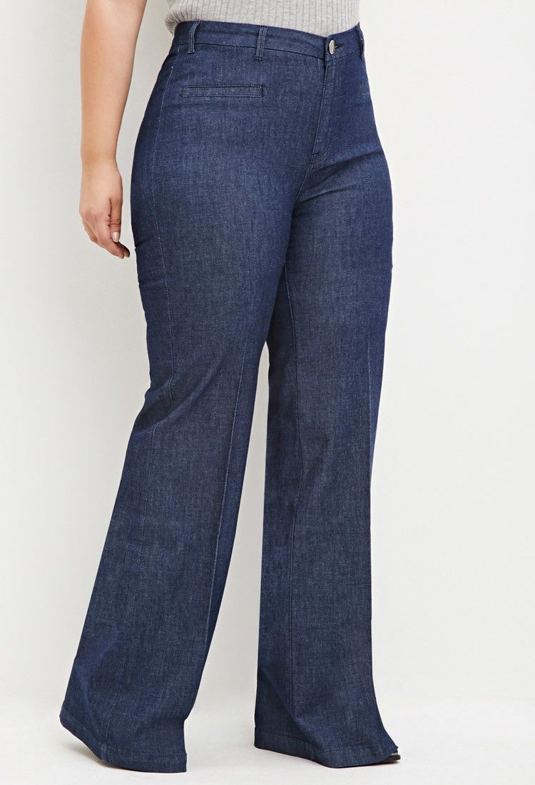 37eef1eb492 Plus Size Wide-Leg Denim Pants