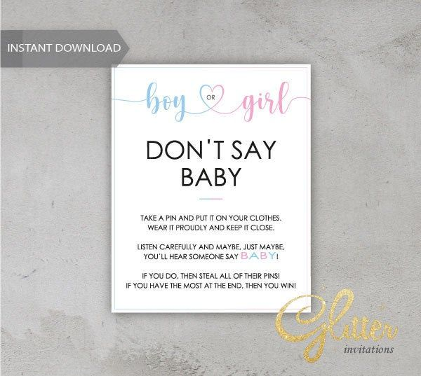 Gender reveal baby shower, Dont Say Baby, Printable Diaper Pin, Clothes Pin Game, Printable boy Dont Say Baby, CY033
