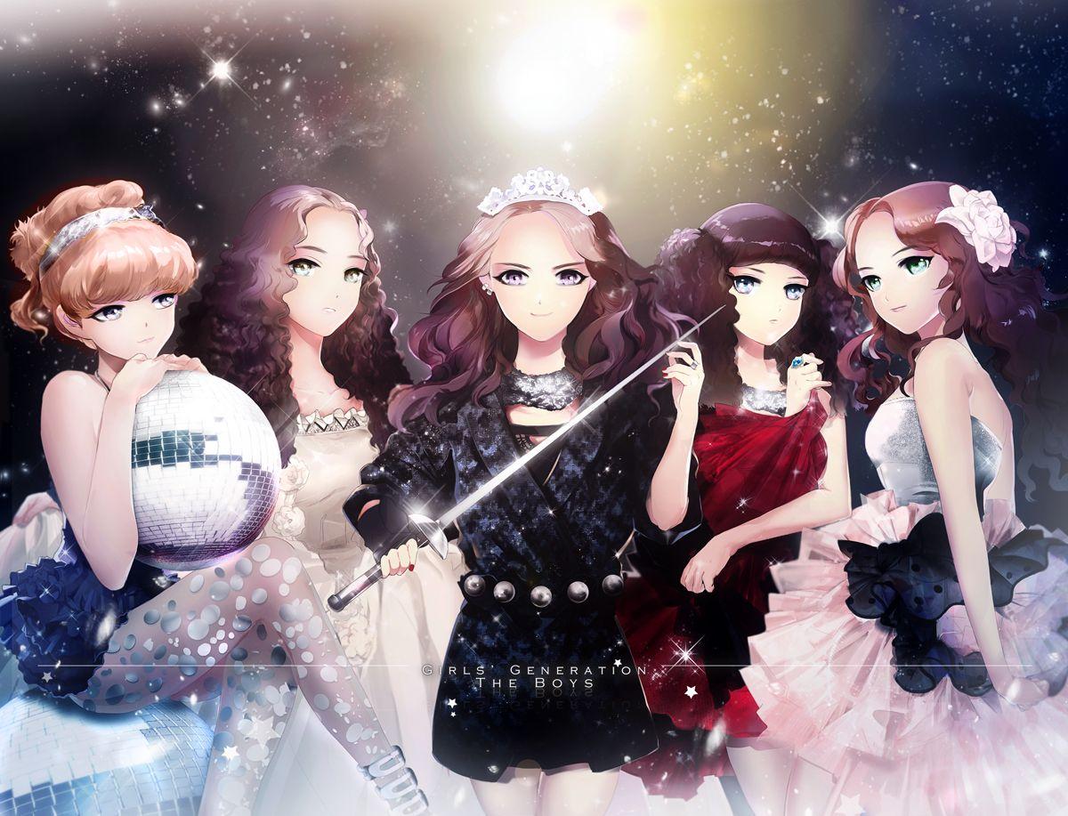 Girls' Generation / SNSD anime * Tiffany , Taeyeon , Yoona , Yuri , Sooyoung *