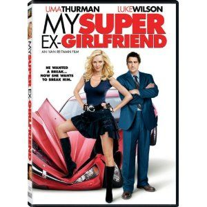 """My Super Ex-Girlfriend DVD: DVD of the 2006 comedy """"My Super Ex-Girlfriend"""" starring Uma Thurman, Luke Wilson, Anna Faris, and Rainn Wilson.  The disk has two sides.  Side A features the movie in full screen plus an extended scene.  Side B features the movie in widescreen format plus a music video and deleted scenes.  The disk is in excellent condition."""