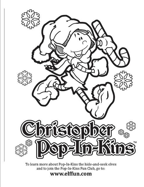 Christopher Pop-In-Kins Coloring Page 1 | Christmas elf ...
