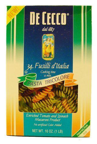 Traditional De Cecco Tri Color Fusilli d' Italia Cut No. 34 16 oz. Box, ,