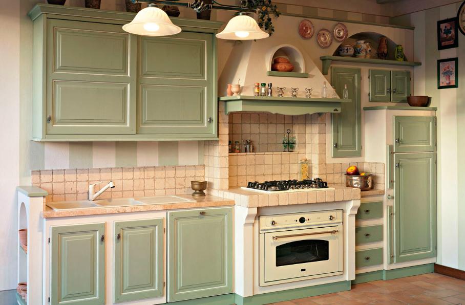 Cucina rustica verde arredamento shabby nel 2019 for Mondo convenienza cucine in muratura
