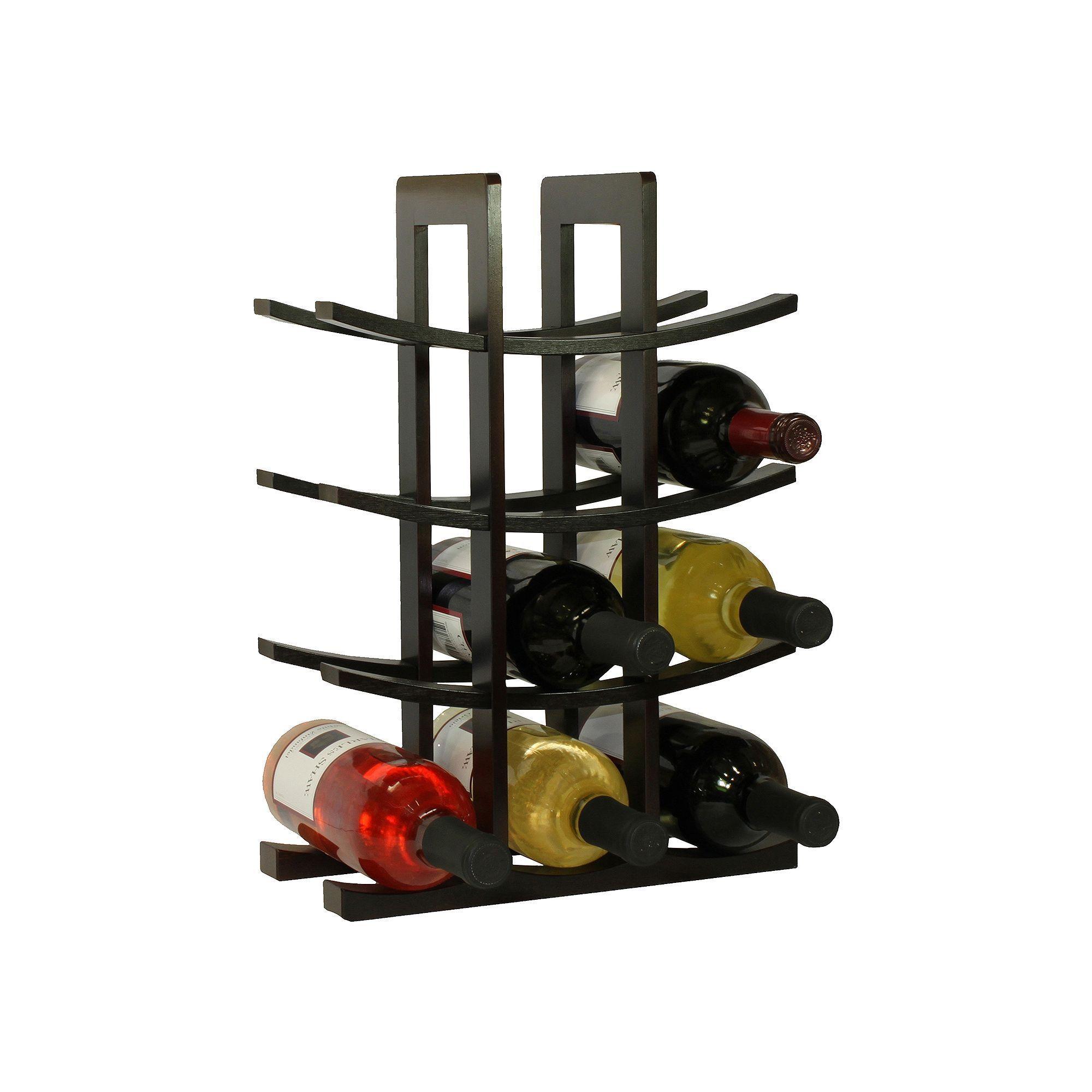 Oceanstar 12 Bottle Bamboo Wine Rack Wine Bottle Glass Holder