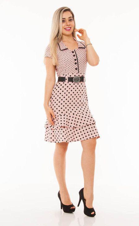 221d13488 RJ12275 - Vestido em tricoline estampa poá com cinto - Bella Belle Moda  Evangélica