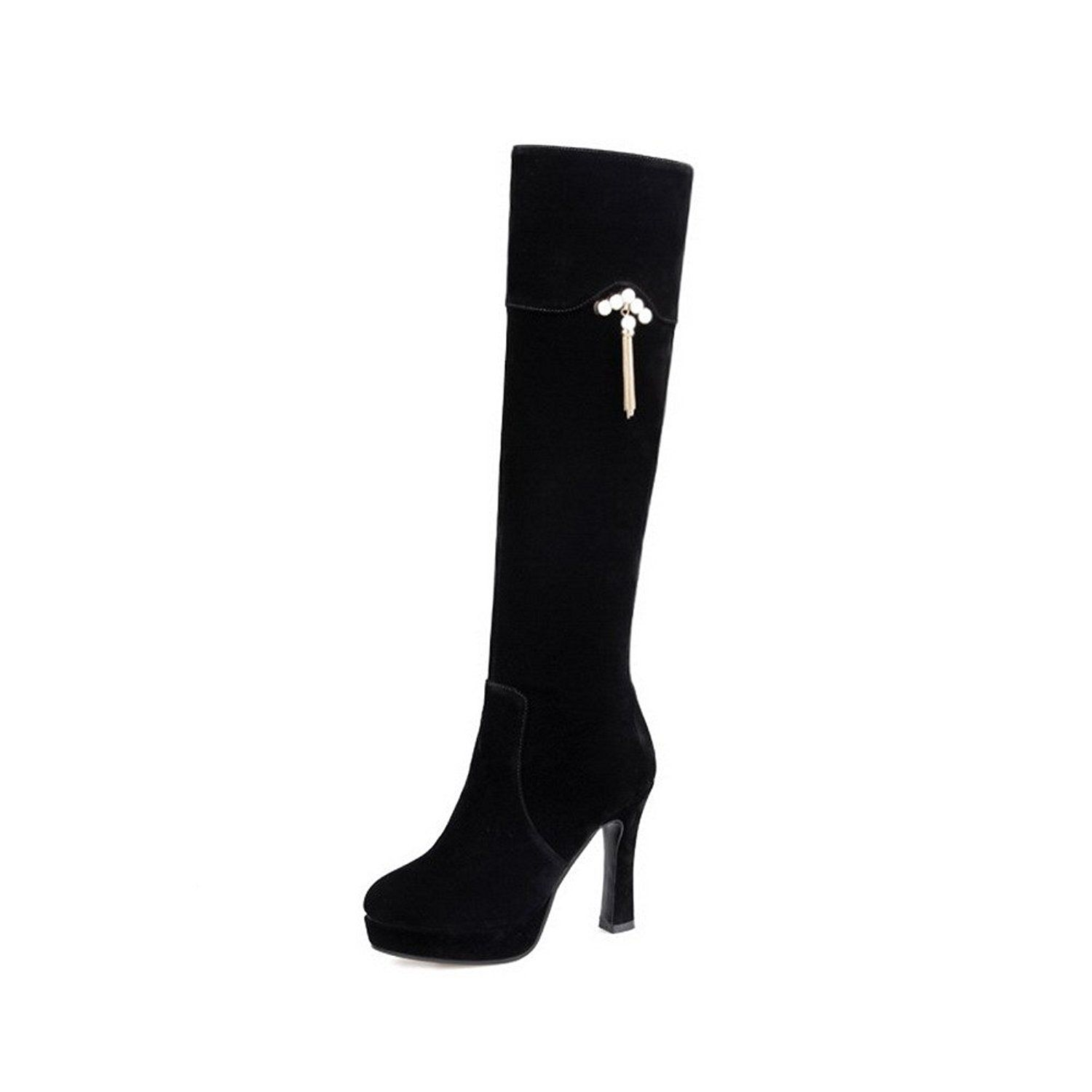 Women's Solid Imitated Suede Boots with Slipping Sole and Thread