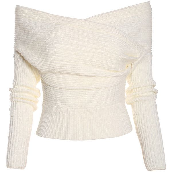 Boat Neck Wrap Front White Sweater (25 CHF) ❤ liked on Polyvore ...
