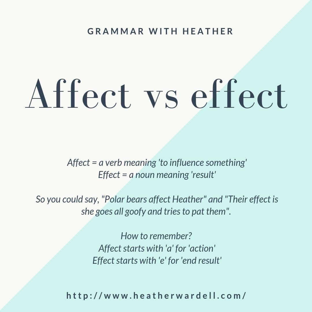 Affect Vs Effect Worksheet Today S Grammar Tip Is A Tricky