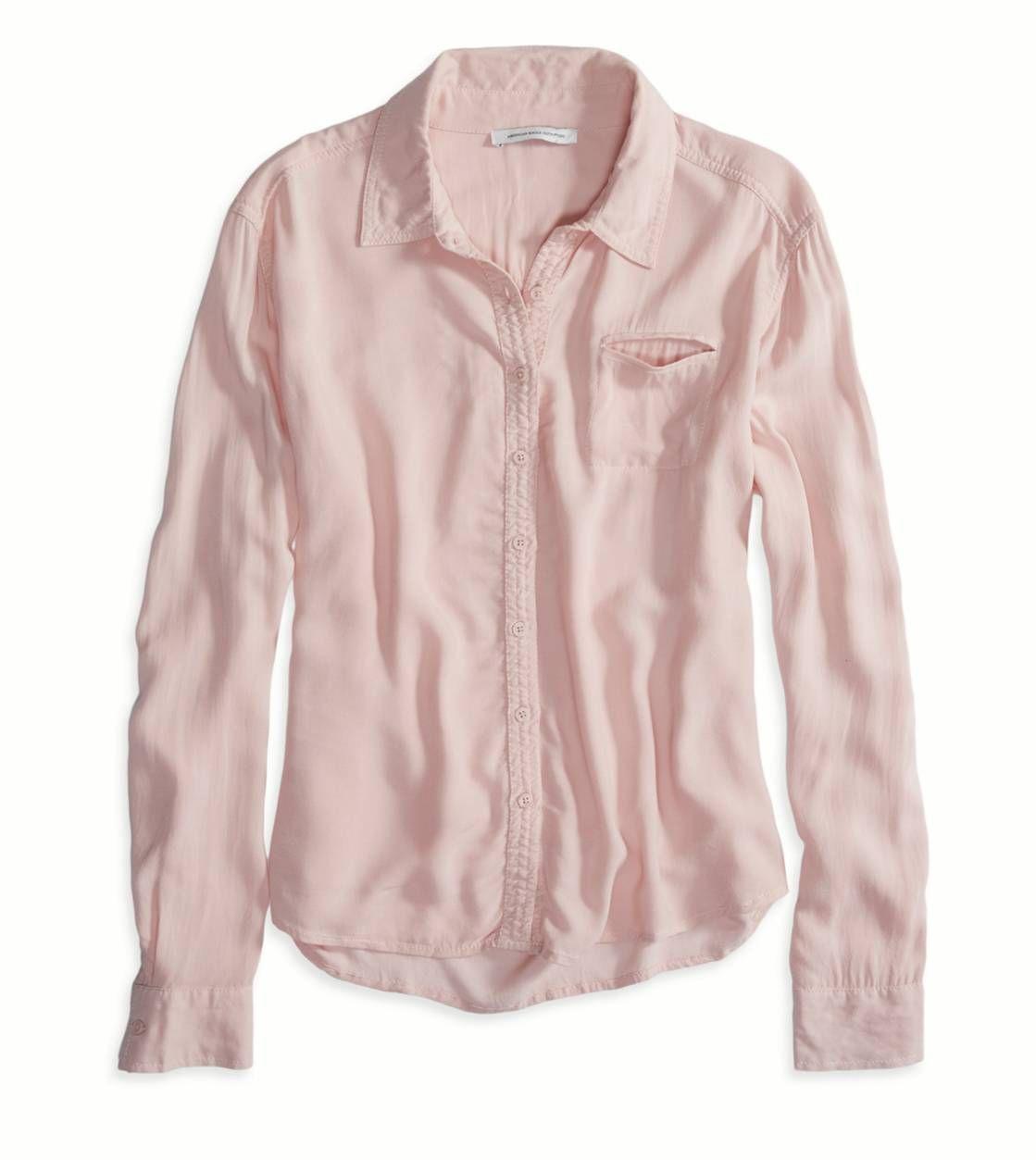 AEO Factory Drapey Button Down Shirt