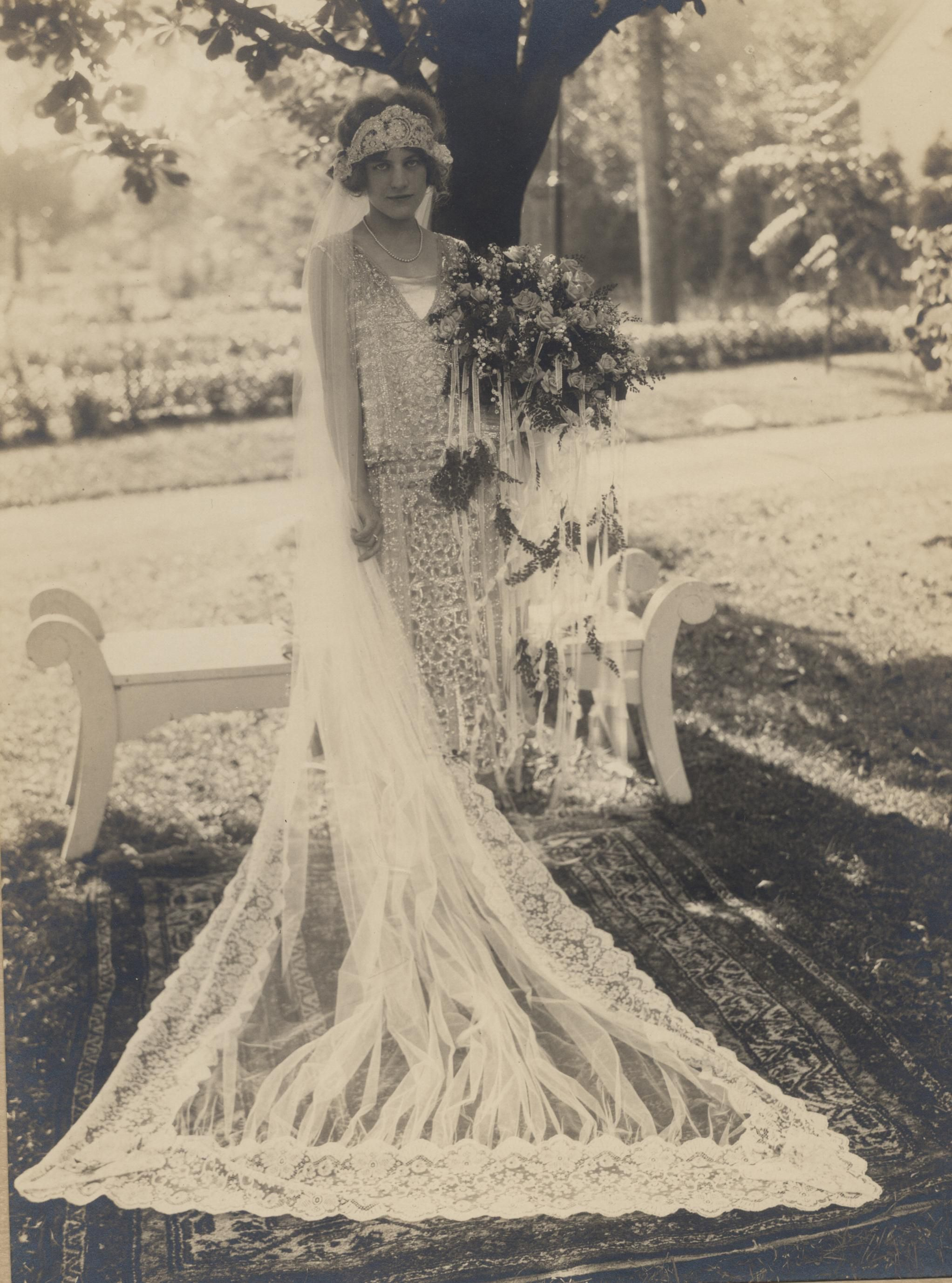 Ruth Schneider In 1924 I Love This Design The Actual Dress Will Be On Exhibit At Wrhs I 1920s Wedding Dress Vintage Wedding Photos Wedding Dresses Vintage