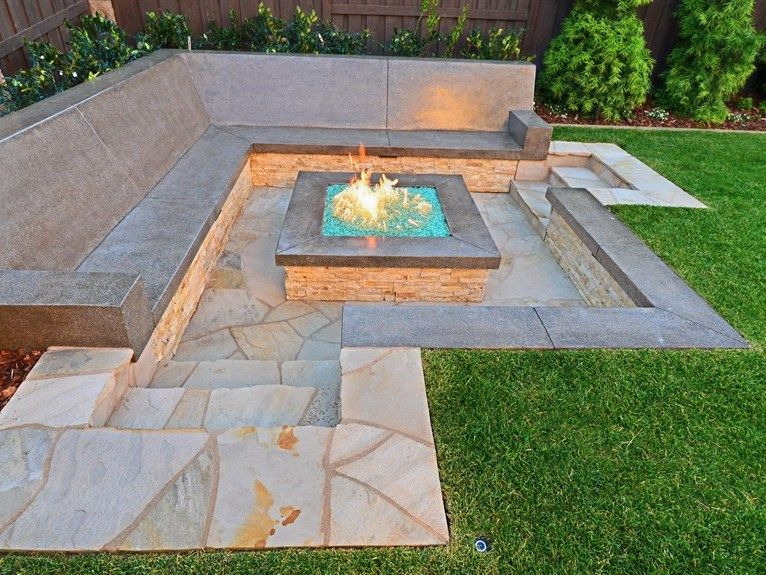 Square Glass Sunken Fire Pit