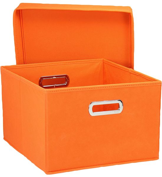Decorative File Storage Boxes With Lids Collapsible Storage Box  Orange Set Of 2  Declutter With