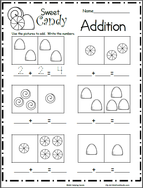Sweet Candy Math Addition Worksheet  Kindergarten December