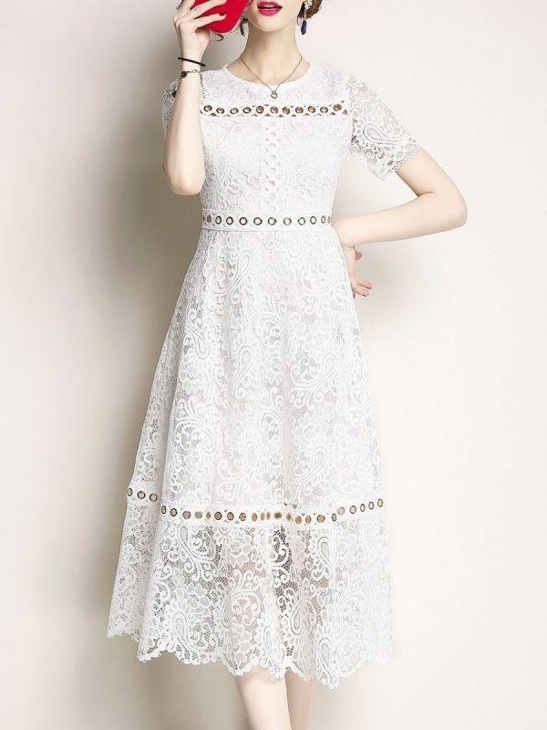 08b68a8499a Midi Dress A-line Date Dress Short Sleeve Lace Guipure lace Prom Dresses