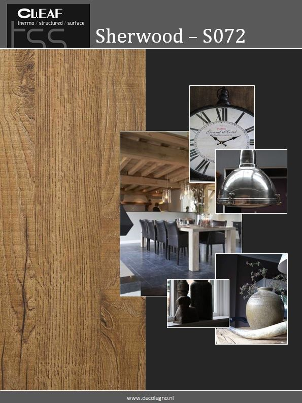 VRI interieur moodboard Decolegno structuur Sherwood S072 bruin ...