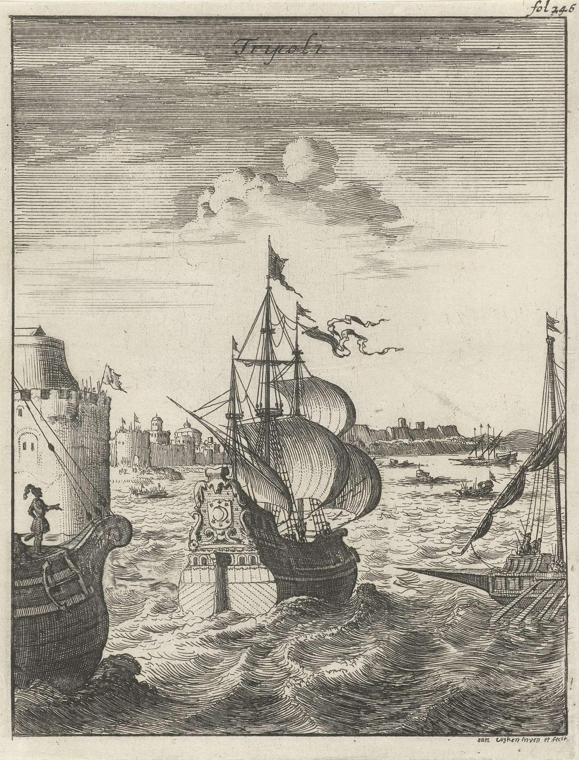 Jan Luyken | Schepen varen Tripoli binnen, Jan Luyken, 1684 | Prent rechtsboven gemerkt: fol. 246.