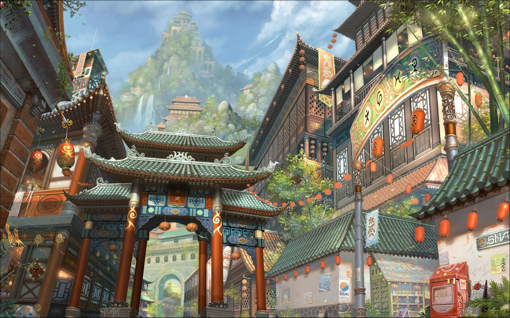 Landscapes Cityscapes Japanese Outdoors Chinese Fantasy Art Asians Korean Artwork 1680x1050 Wallp Wall Fantasy Concept Art Japanese Fantasy Landscape Wallpaper