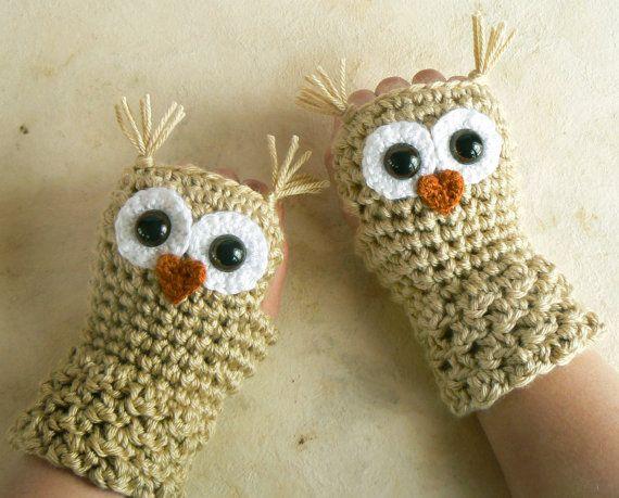 Crochet Owl Fingerless Gloves Wrist Warmers By