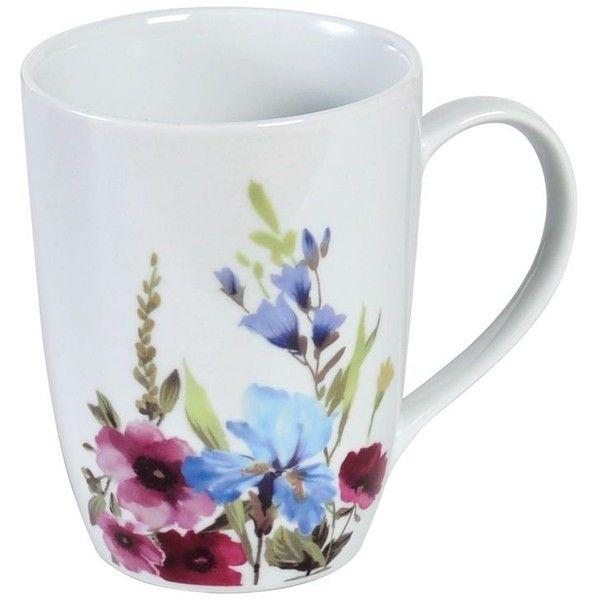 Flower Garden Mug (13 BRL) ❤ liked on Polyvore featuring home, kitchen & dining, drinkware, kitchen, mugs, decor, drinks, cocoa mugs, tea mug and chocolate mug