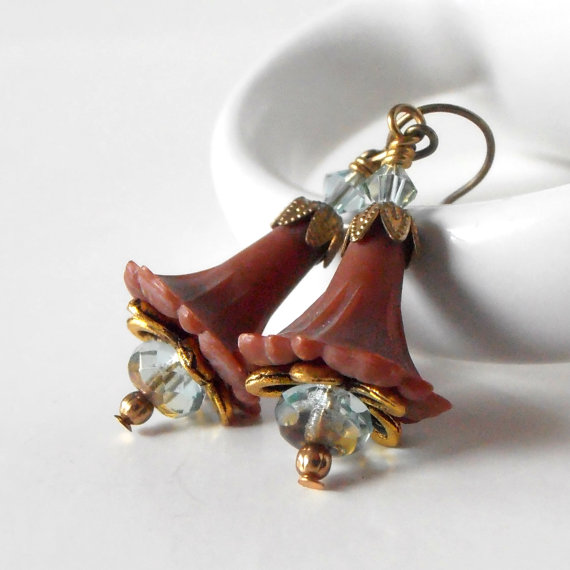 Cinnamon Brown Flower Earrings Lucite Jewelry by CopperNichols, $16.00