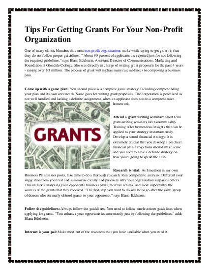 Tips for getting grants for your non profit organization Grants - Non Profit Proposal Template