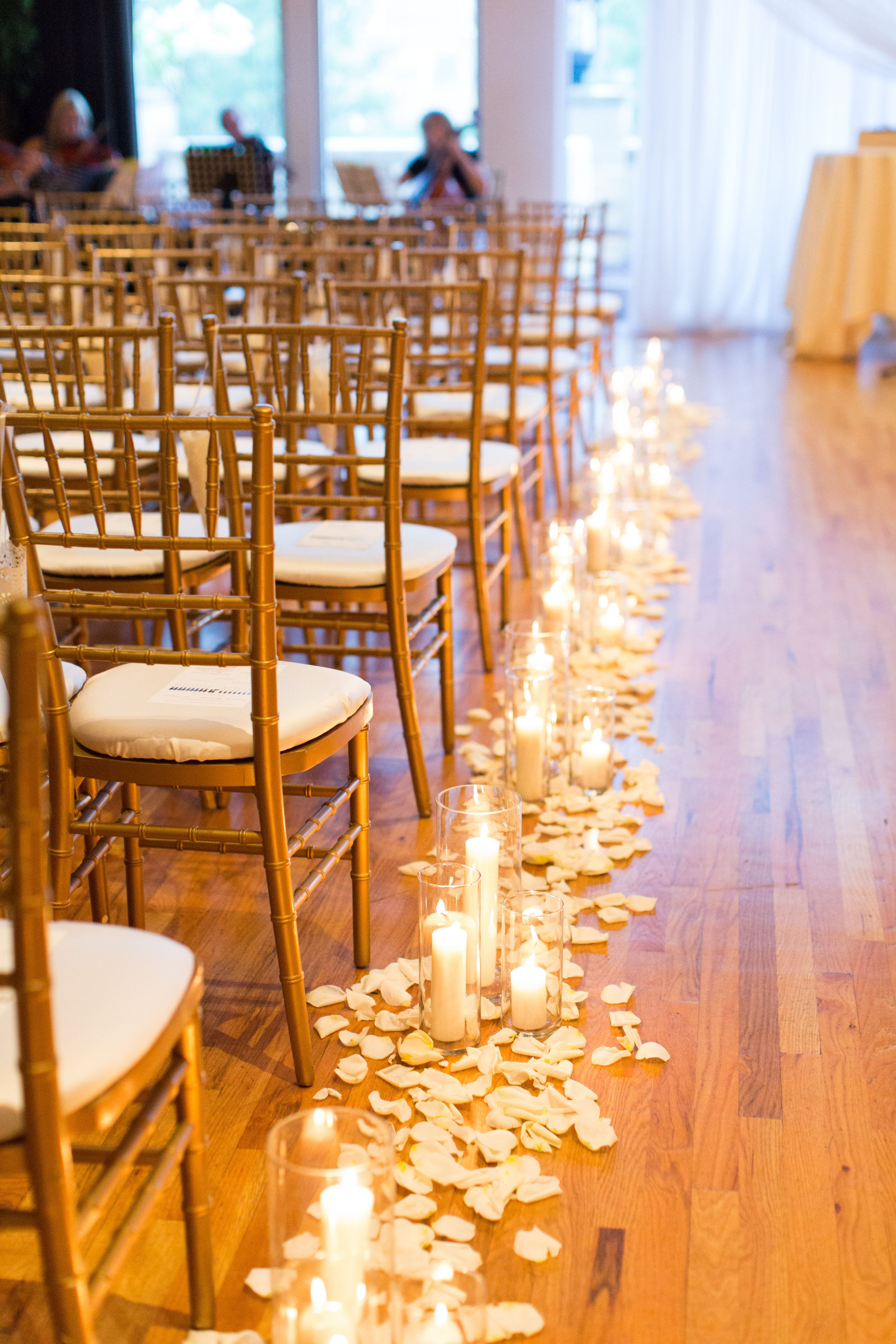 Candles Down The Aisle Wedding Candles Petals Lining The Aisle