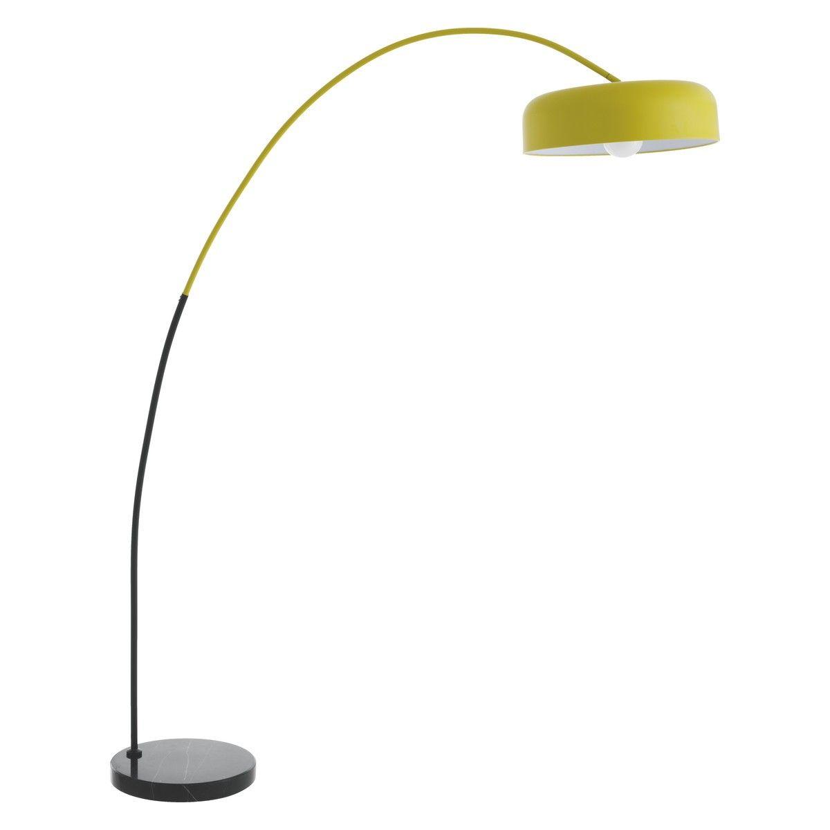 Euan Black Yellow Metal And Marble Overreach Floor Lamp Floor Lamp Modern Floor Lamps Copper Pendant Lights