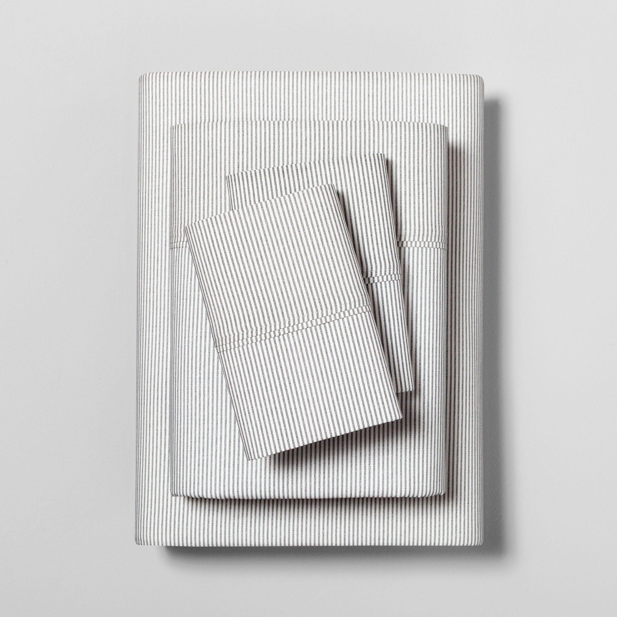 Twin Sheet Set Organic Microstripe Railroad Gray Sour Cream
