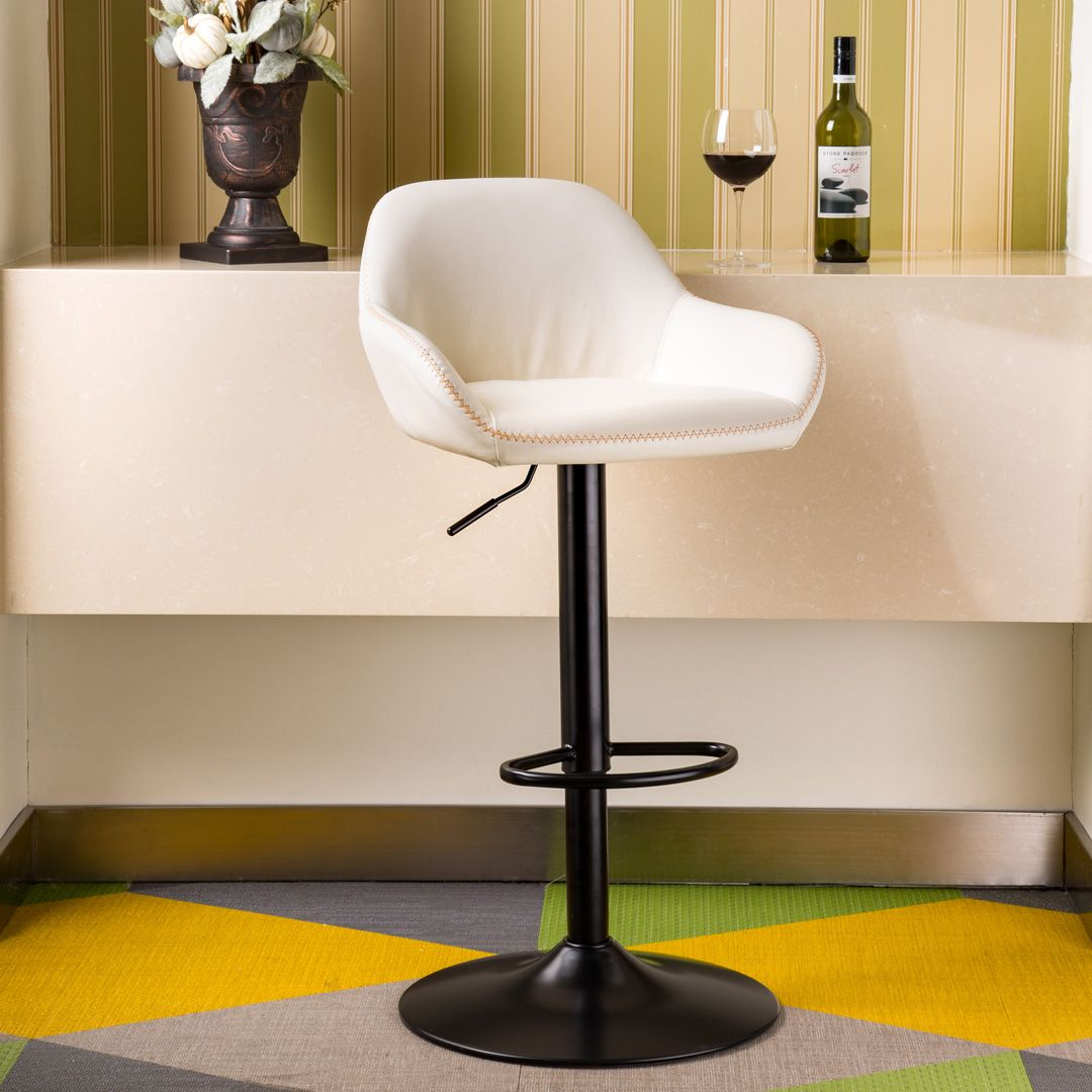 Bar Stool With Back Support Adjustable Leather Counter Height Home Swivel Bar Stools Dining Chair Mid Century Bar Stools Swivel Bar Stools Bar Stools
