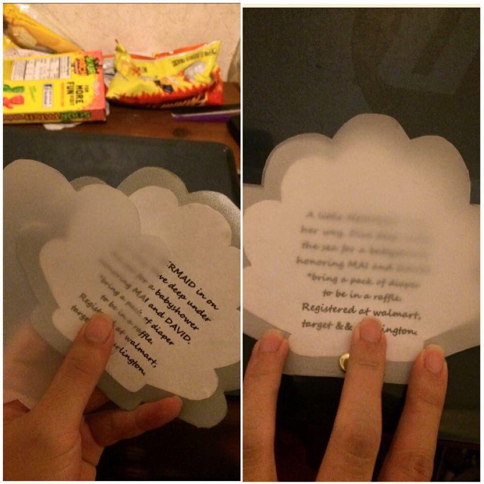 My sea shell invitations