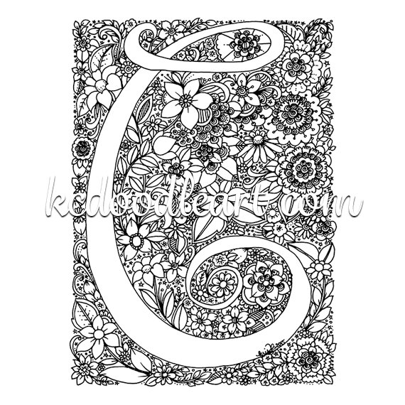 instant digital download adult coloring page letter c with flower designs
