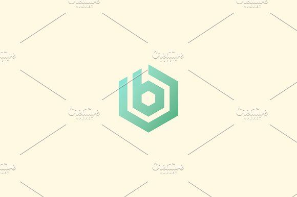 Abstract letter B vector logotype. Line hexagon creative simple logo ...