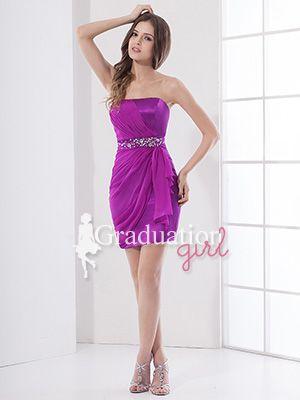 fe934b968e7 Purple College Chiffon Short Petite Tight Strapless Graduation Dress - US   81.99 - Style G0206 - Graduation Girl
