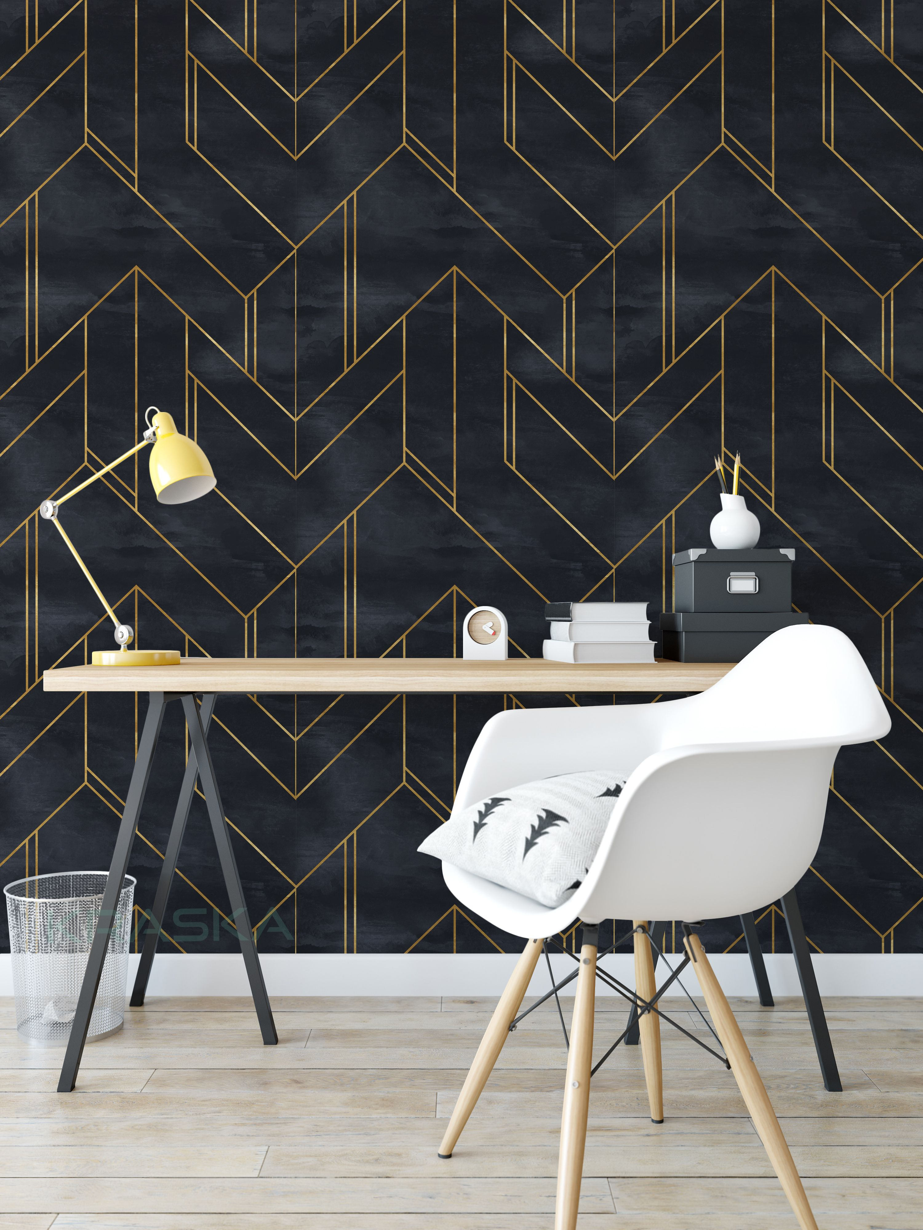 Peel And Stick Wallpaper Geometric Gold Line Black Kraska Removable Wall Decor Accent Walls In Living Room Bedroom Wallpaper Accent Wall Wallpaper Accent Wall