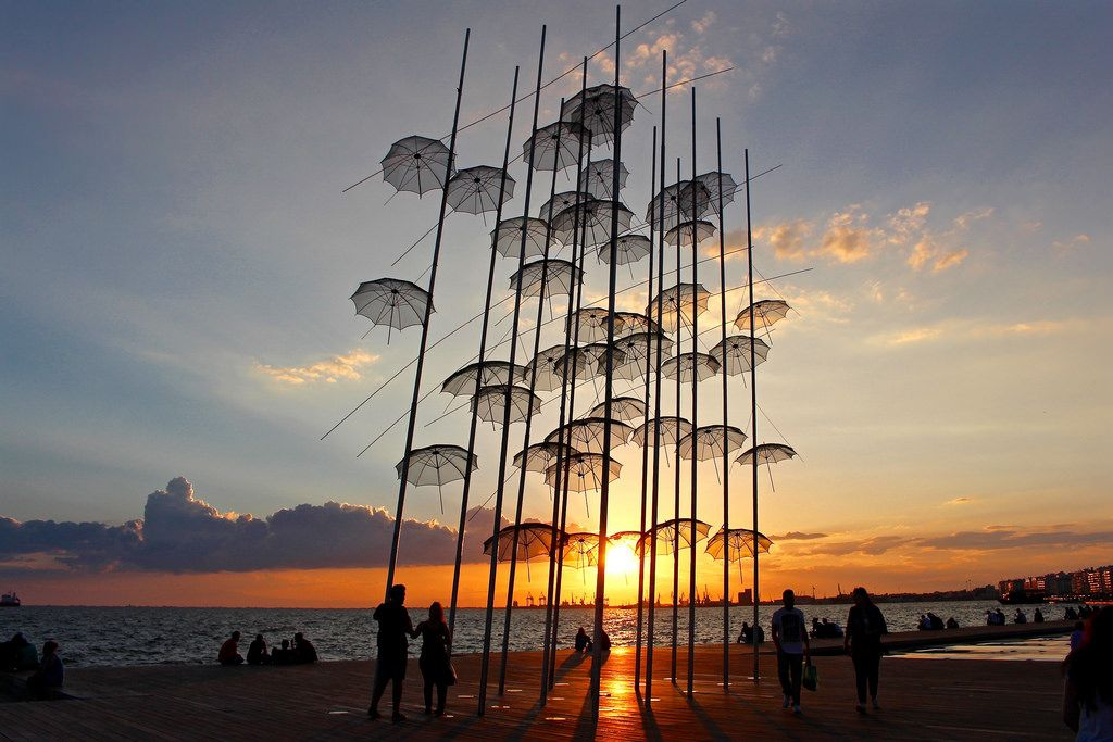 Umbrellas sculpture in the waterfront of Thessaloniki, Greece.  The sculpture is created by the world famous greek artist George Zongolopoulos, placed in Thessaloniki, Greece in 1997 when the city was the European Capital of Culture.