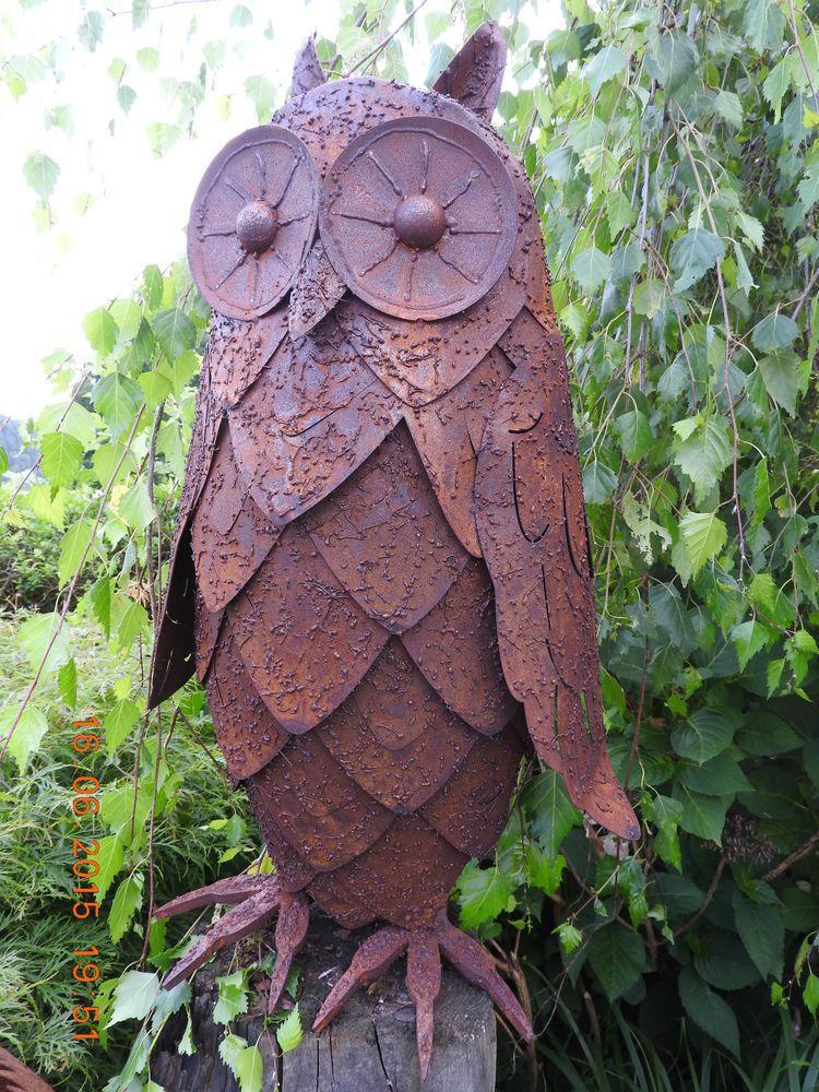 details zu edelrost eule rost eisen metall garten skulptur, Garten Ideen