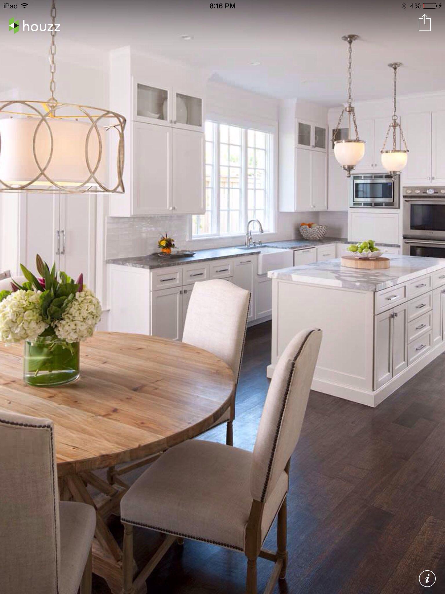 Dark Floors White Cabinets Lighting Cozinhas Domesticas Cozinha Tradicional Projeto Da Sala De Jantar