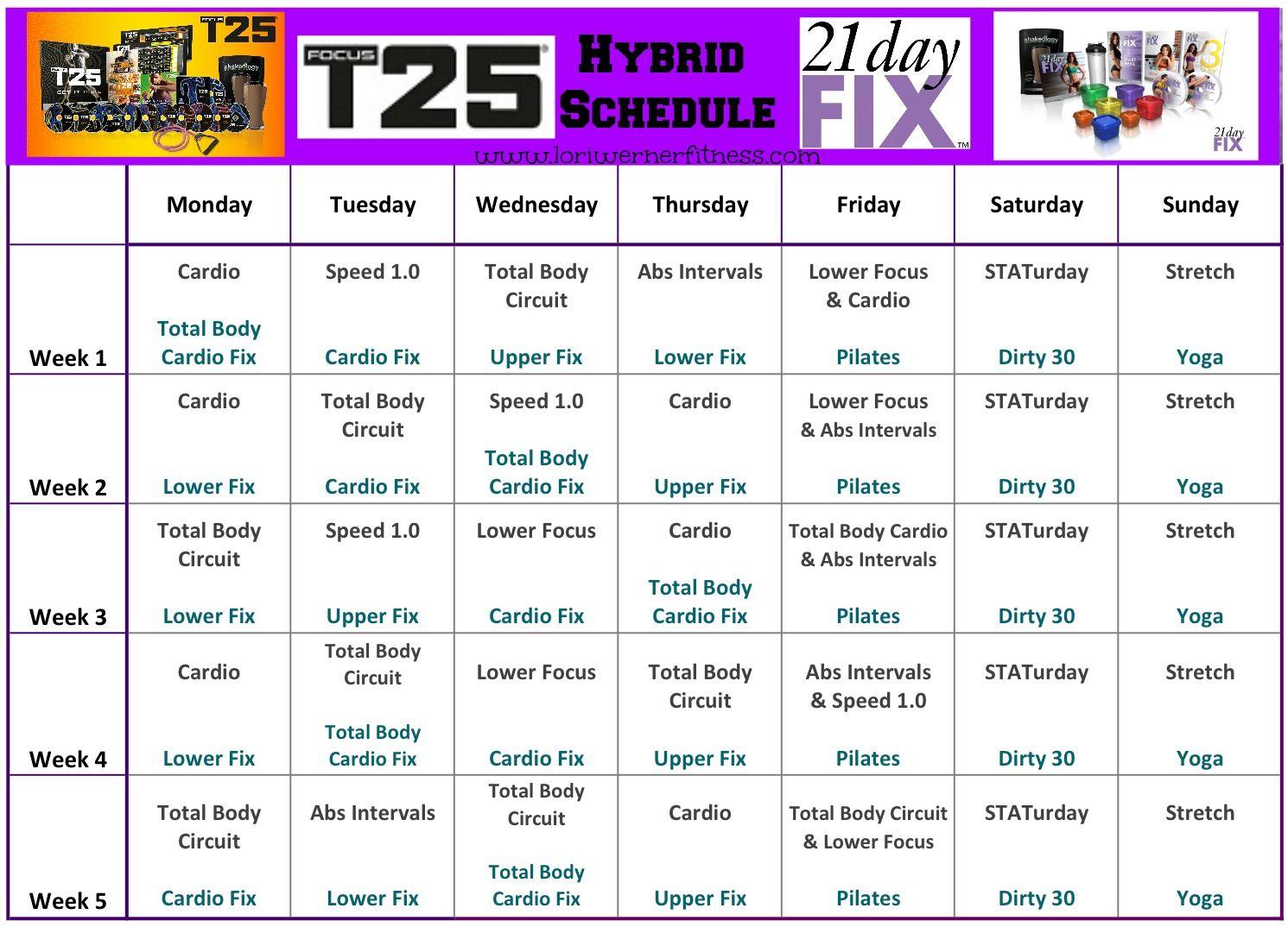 21 Day Fix Piyo Hybrid Workout T25