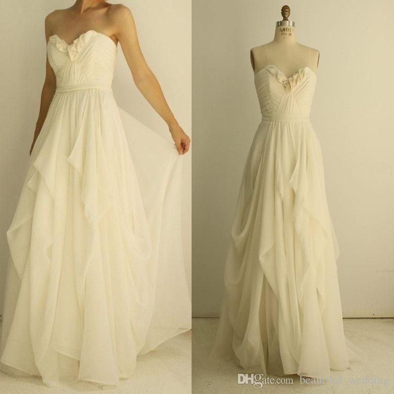 Chiffon Cheap Wedding Dresses Under 100 Sweetheart Neckline Pleats ...