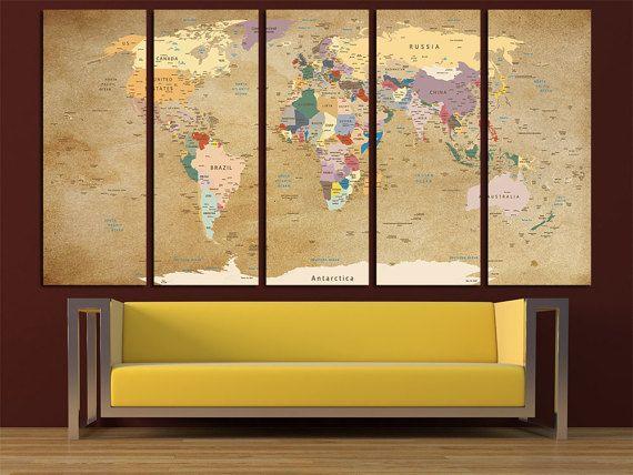 Large Push Pin World Map Canvas Print Wall Art Multi Panel World Map ...