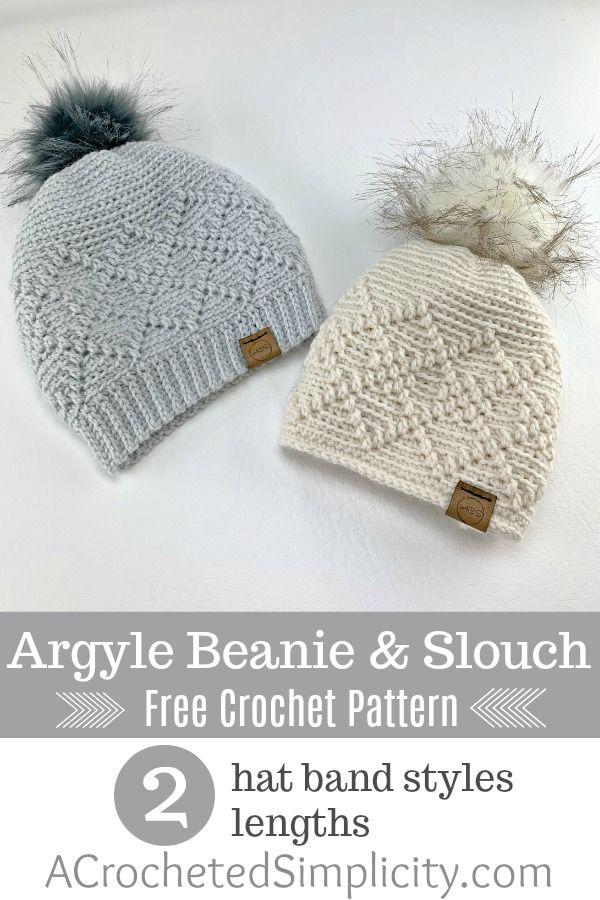 Argyle Beanie & Slouch - Free Crochet Hat Pattern #crochetedhats